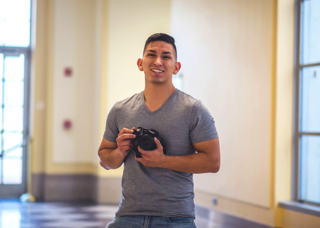 Alejandro Serrano used a tripod and two cameras to create this self-portrait in the Doe Library. (Photo by Alejandro Serrano for the University Library)