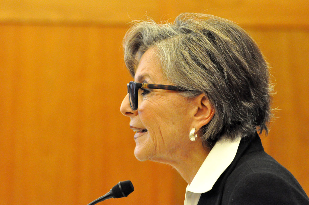 Barbara Boxer announces the donation of her congressional papers at the Bancroft Library. (Photo by Peg Skorpinski for the University Library)