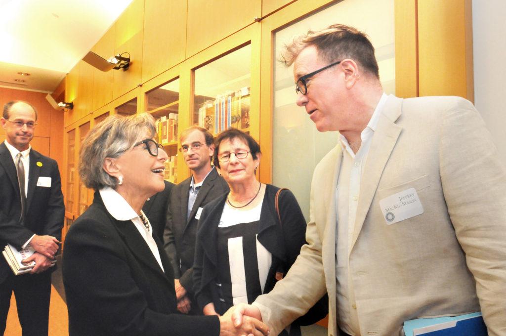 Barbara Boxer meets with University Librarian Jeff MacKie-Mason. (Photo by Peg Skorpinski for the University Library)