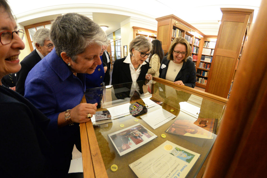 Barbara Boxer views items on display at the Bancroft Library. (Photograph by Peg Skorpinski for the University Library)