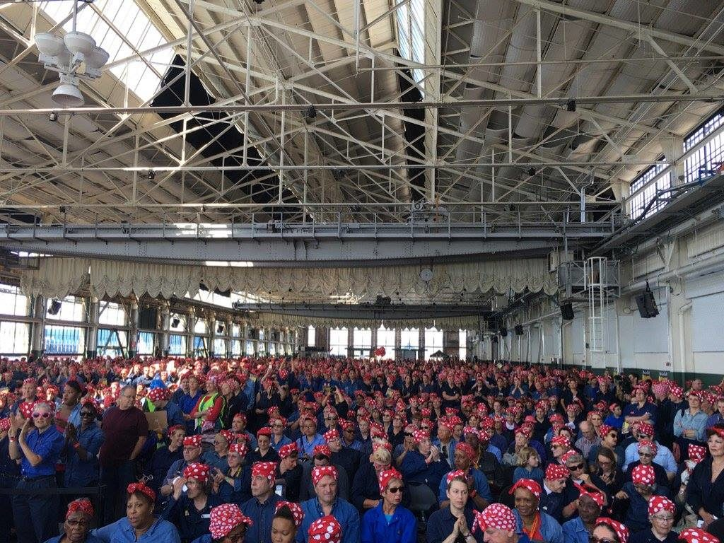Rosie Rally August 13, 2016, Richmond Craneway Paviliion, 2,229 strong Guinness World Record for Most People Dressed as Rosie the Riveter in one place.