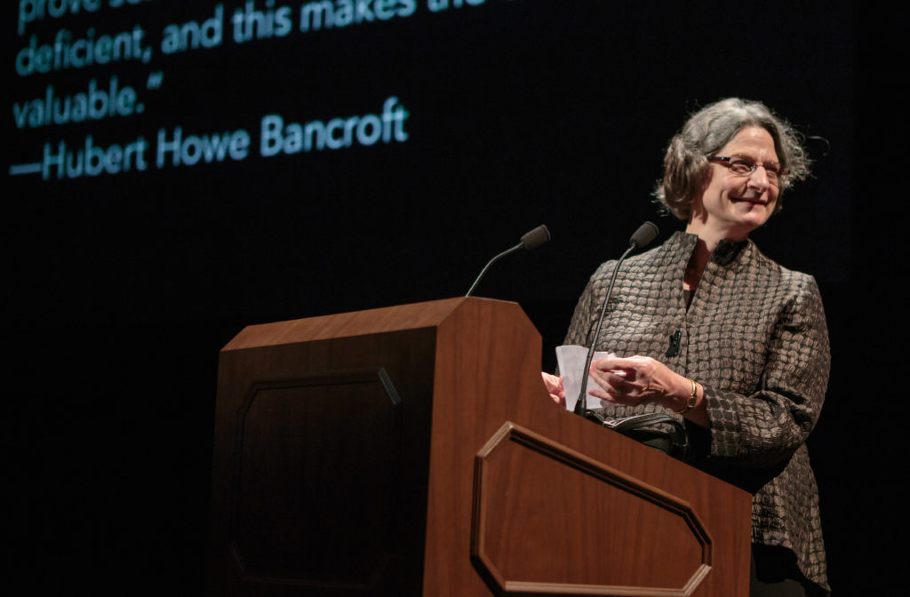 Bancroft Director Elaine Tennant accepts the 2016 Litquake Barbary Coast award to the Bancroft.