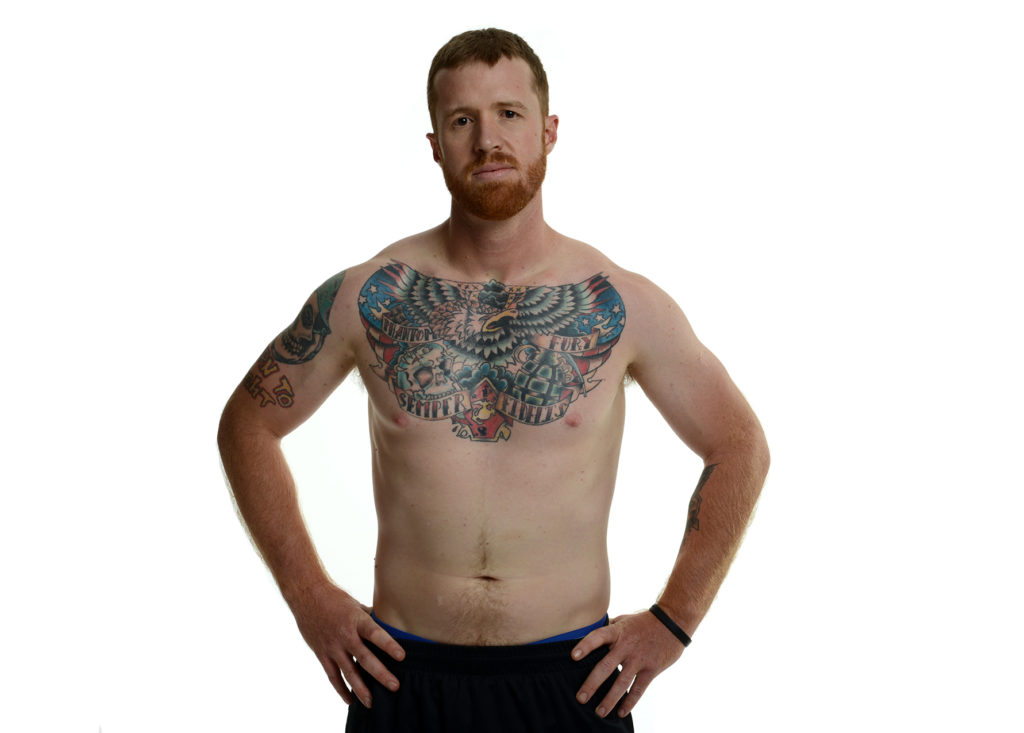 War Ink image of veteran with tattoos