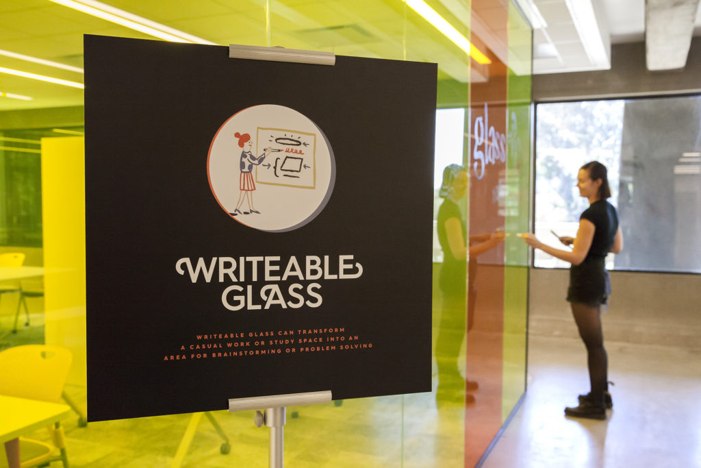 Writeable glass walls are a popular feature throughout the 4th and 5th floors of the Moffitt Library. (Photo by Brittany Hosea-Small for the University Library)