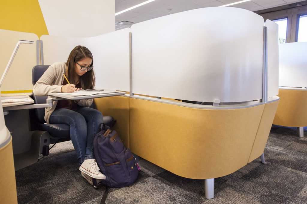 Jeanette Pastrana, a UC Berkeley second year student, studies in one of the new work lounges. (Photo by Brittany Hosea-Small for the University Library)