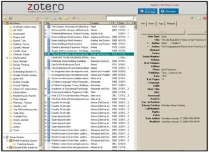 screen shot of Zotero