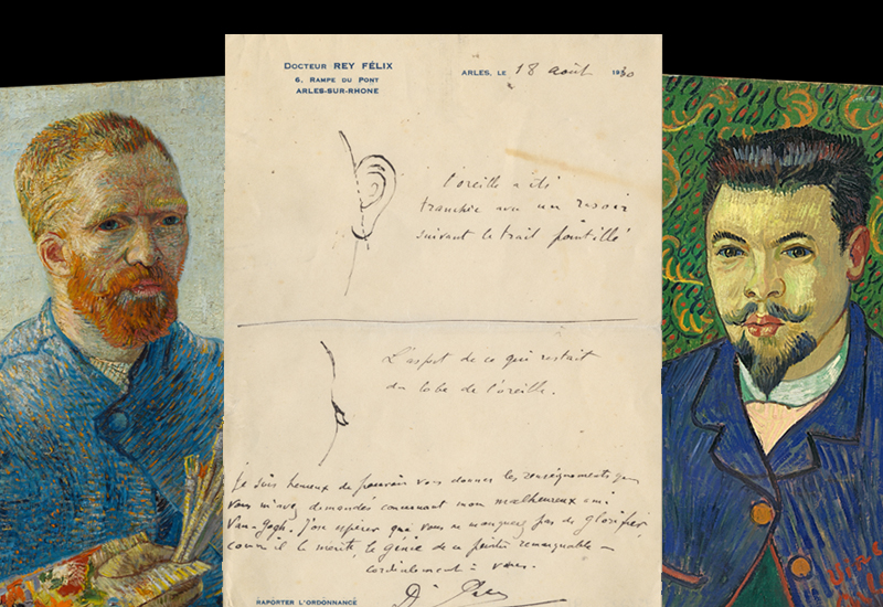 Van Gogh's self portrait, the Bancroft Library document on Van Gogh's severed ear, and the artist's depiction of Dr. Félix Rey. (Images courtesy Van Gogh Museum and Bancroft Library)