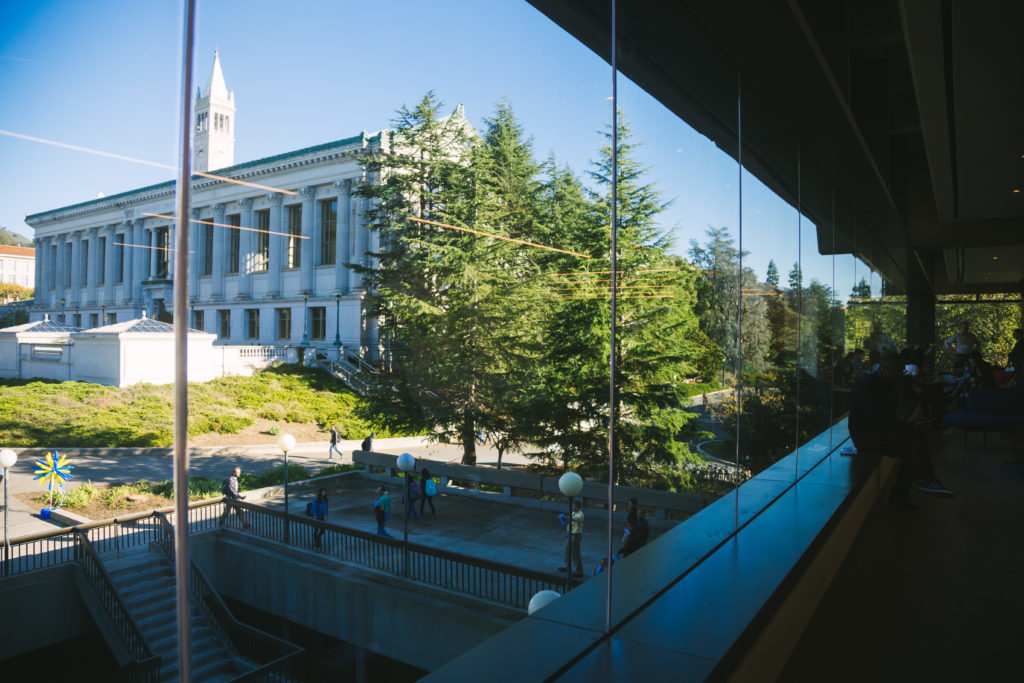 Photo: View of Doe Library from Moffitt Library