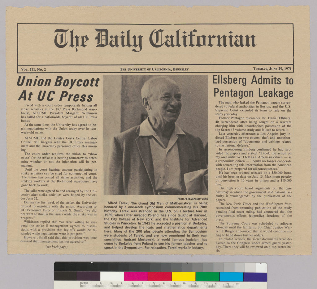 Newsclipping with photograph of Alfred Tarski