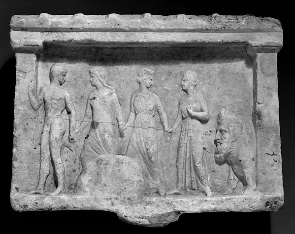 Marble relief of Hermes, three nymphs, and Acheloös, ca. 320–300 B.C. (Metropolitan Museum of Art 25.78.59)