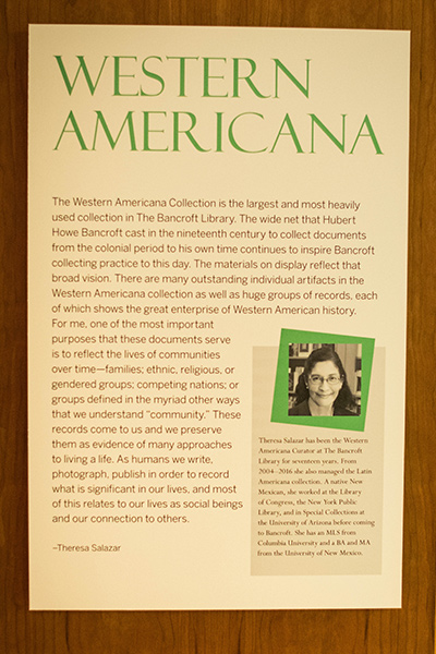 Western Americana display in the new Bancroft Library exhibit