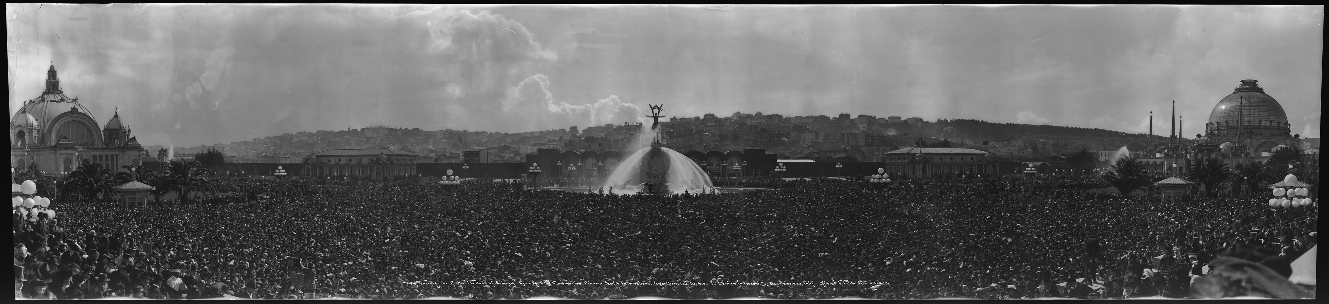 Panoramic photograph: Turning on the Fountain of Energy, Opening Day Panama Pacific International Exposition, February 20, 1915