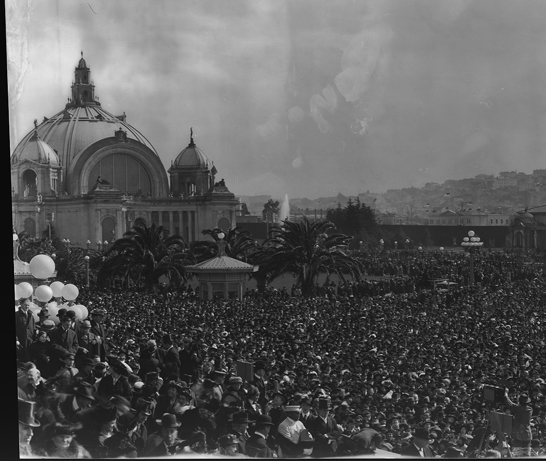 "Detail of left portion of panoramic photo: crowd scene while ""Turning on the Fountain of Energy, Opening Day"""