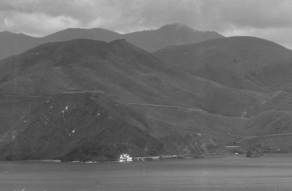 Detail of panoramic photograph, showing the Marin County coastline across the bay from the PPIE site.