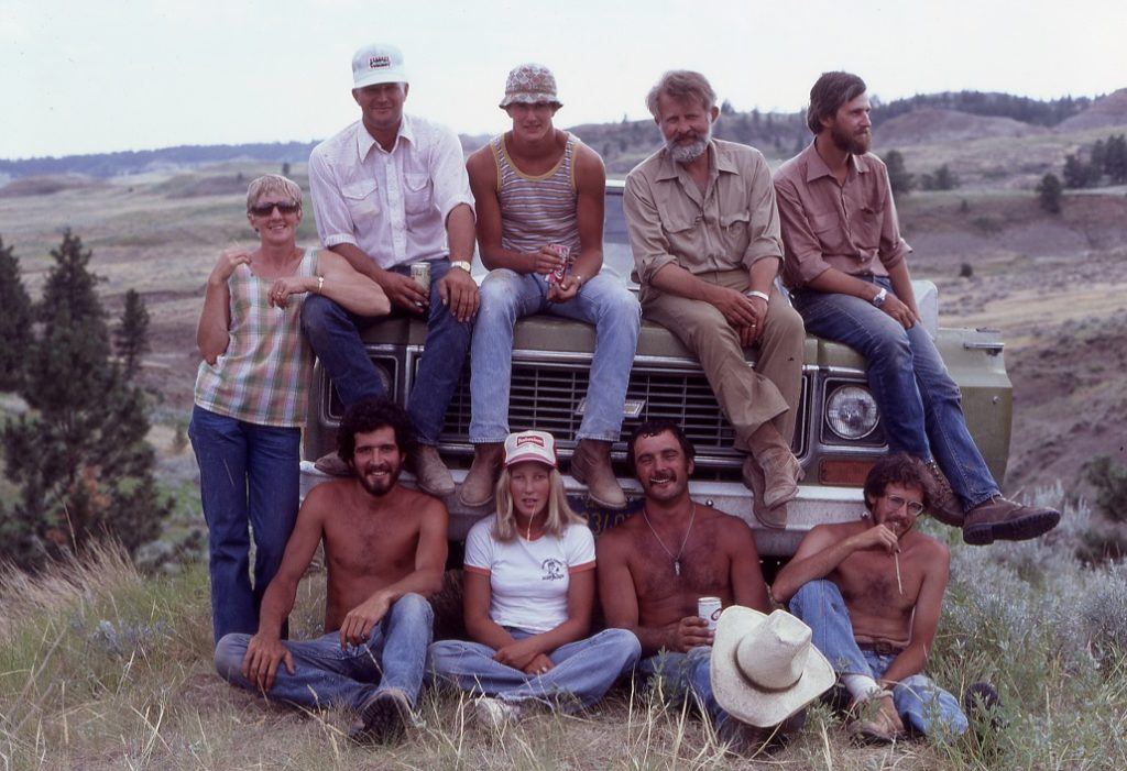 Sitting on Bill's Chevy Blazer. Jordon, MT, 1979 Front: Mark Goodwin, Cathy Engdahl, Mike Greenwald, Lowell Dingus Rear: Jane, Bob, and Duane Engdahl (Skinner Award honorees), Bill, Dave Archibald Photograph courtesy of Mark Goodwin