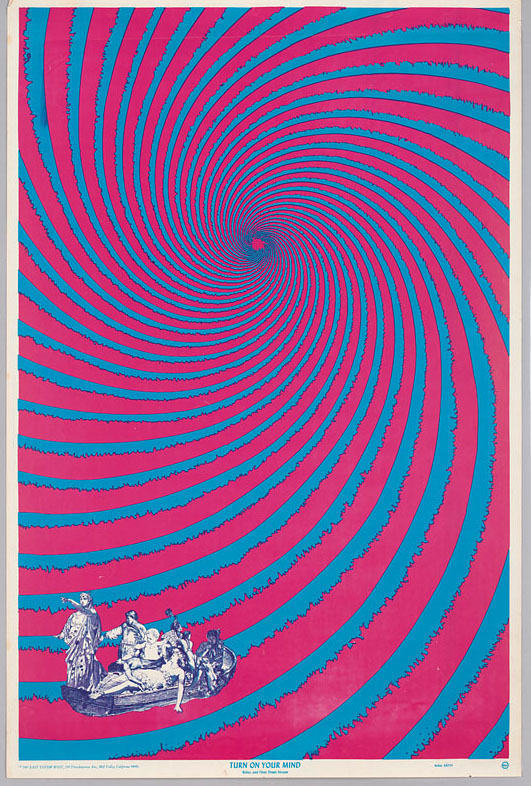 Psychedelic poster with spiral in blue and red.