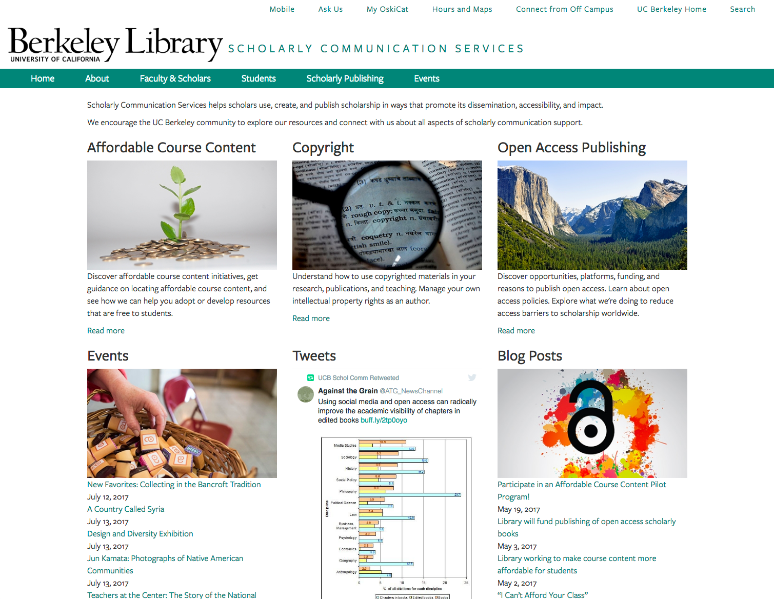 Screenshot of the scholarly communications website