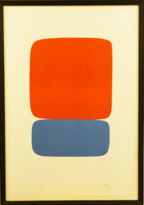 "This piece by Ellsworth Kelly, titled ""Red-Orange Over Blue,"" is among the popular offerings in The Graphic Arts Loan Collection. (Courtesy of The Graphic Arts Loan Collection)"