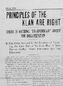 "snippet of article ""principles of the Klan are right"""