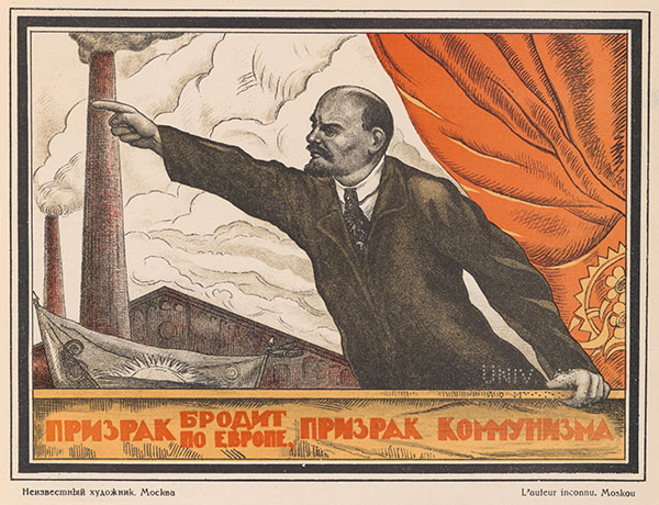 """Vladimir Lenin was known for his oration skills, illustrated here. Smokestacks, representing an industrialized future, and the red banner are common motifs in Soviet propaganda. (Valentin Shcherbakov, """"A Spectre Is Haunting Europe, the Spectre of Communism"""")"""