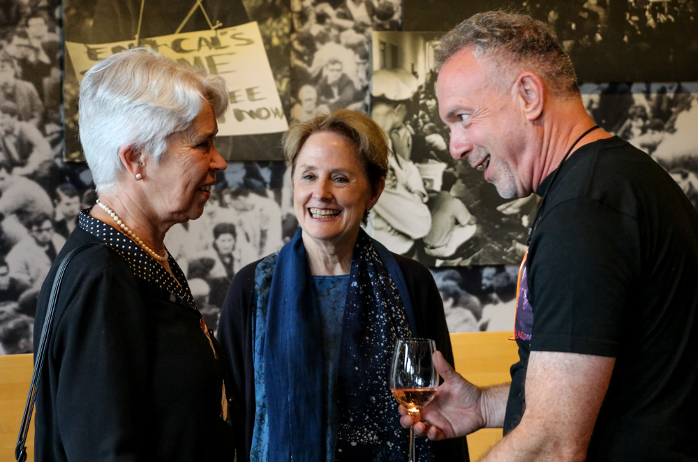 From left, UC Berkeley Chancellor Carol Christ, Alice Waters and Heyday Books publisher Steve Wasserman chat before Waters' book event at the Free Speech Movement Café at Moffitt Library. The event was the first one tied to the release of her memoir. (Photo by Cade Johnson for the University Library)
