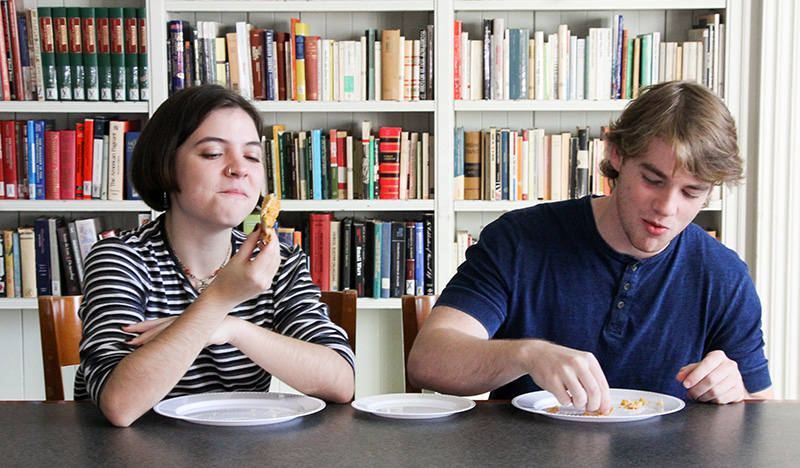 Students taste pie.