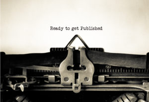 "Typewriter with ""Ready to Get Published"" written on page."