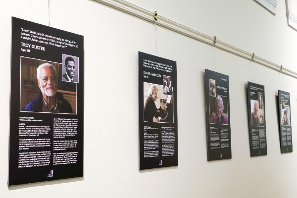 Reframing Aging, an exhibit about changing attitudes toward growing old, is on display in Doe Library. (Photo by Cade Johnson for the University Library)