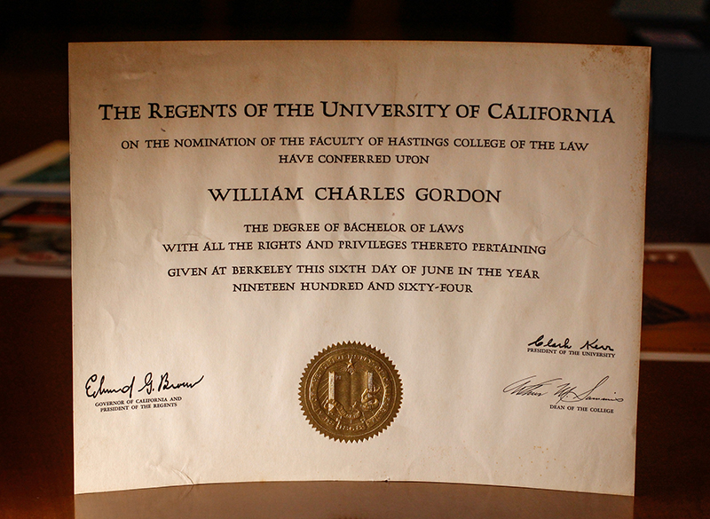 Diploma from UC Berkeley