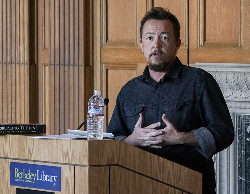 Poet TC Tolbert reads in Morrison Library on Feb. 1, 2018, as part of the admission-free Lunch Poems series that takes place on the first Thursday of every month. (Photo by Cade Johnson for the University Library)