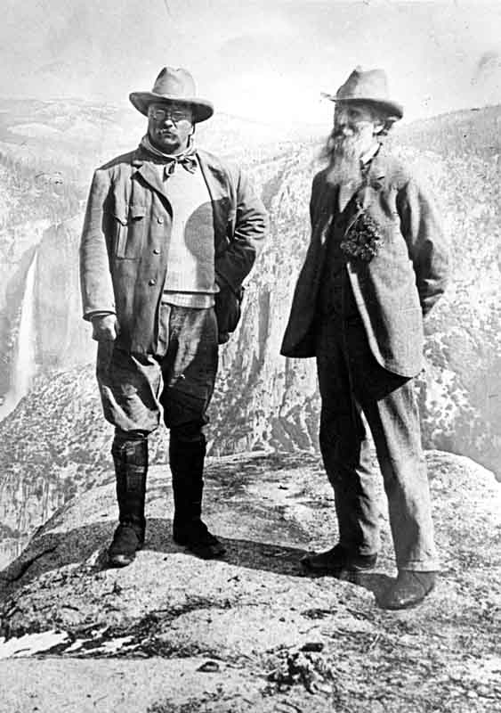 After Theodore Roosevelt's visit to UC Berkeley, he toured Yosemite. Here he is seen at Glacier Point with naturalist John Muir. (Courtesy of The Bancroft Library [full credit below])