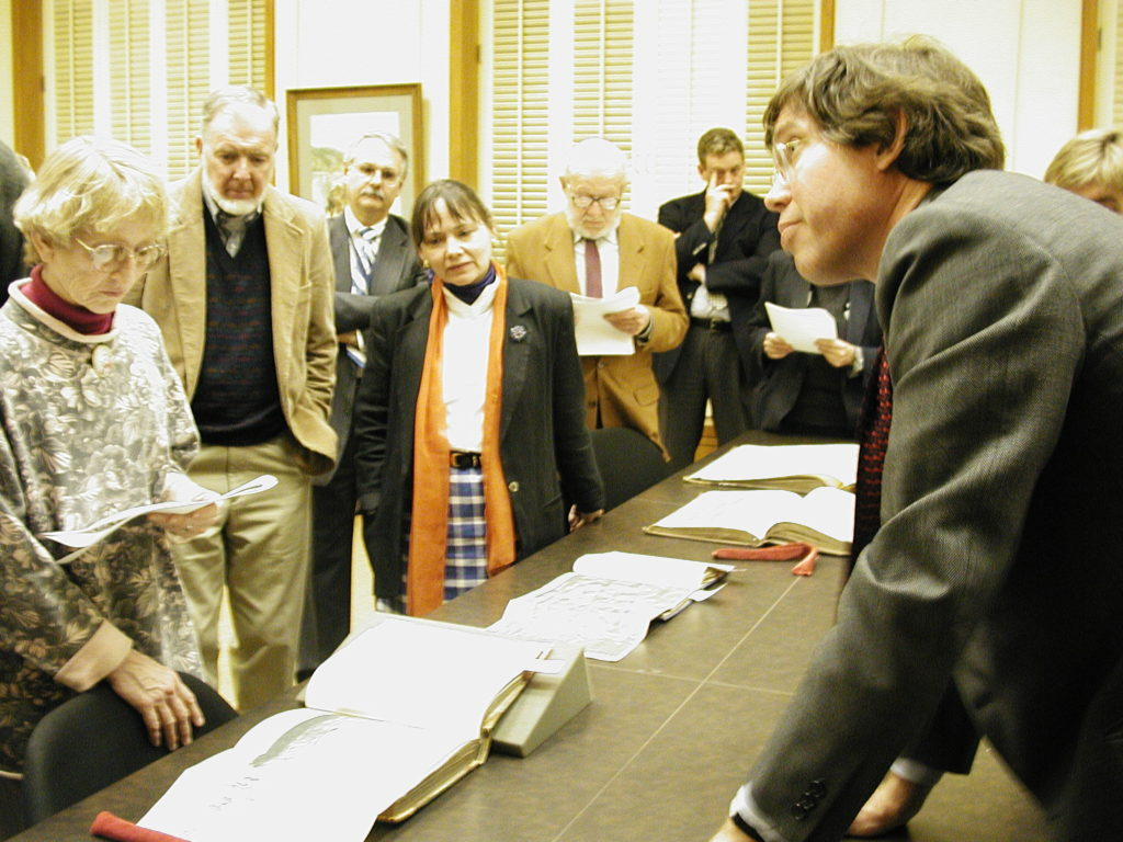 Bill Reese in Bancroft's Edward Hellman Heller Reading Room - February 2001