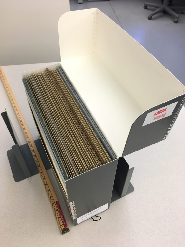 Large glass negatives in archival box