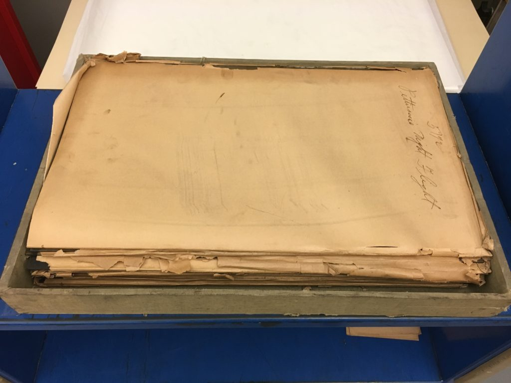 Stack of large glass plate negatives
