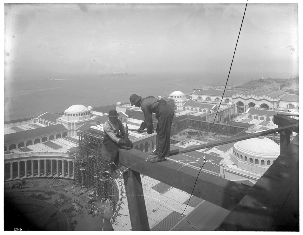 Broken glass negative, re-assembled, of Workmen On Tower