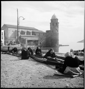 Women working at Anchois Desclaux, an anchovy cannery in Collioure, France.