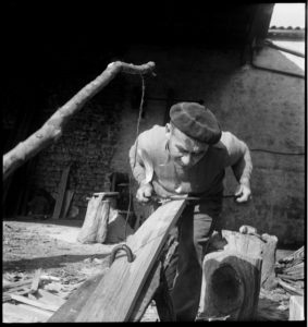 Barrel maker in Cognac, France circa 1945.