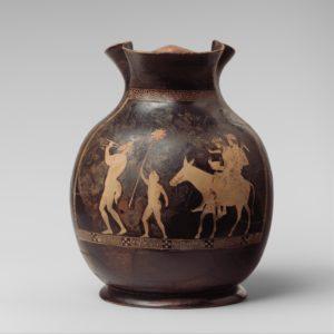 Terracotta oinochoe depicting the return of Hephaistos to Mount Olympos, Greek, ca. 430-420 B.C. (The Metropolitan Museum of Art 08.258.22).