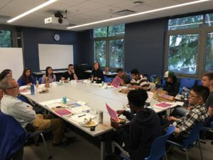 A meeting of the Moffitt Student Advisory Council