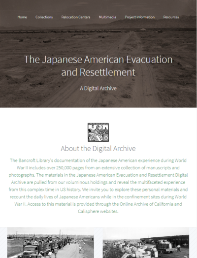The Japanese American Evacuation & Resettlement Digital Archive website