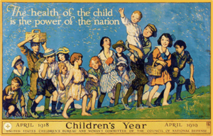 Group of children pictured, with caption: The health of the child is the power of the nation.