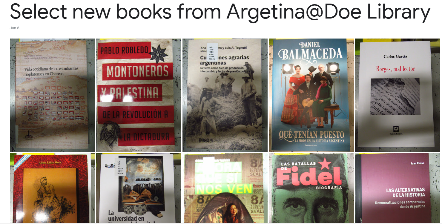 Select new books from Argentina!