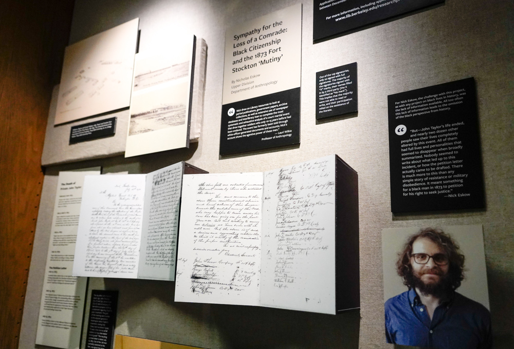 "Nicholas Eskow's paper, ""Sympathy for the Loss of a Comrade"" is the subject of this semester's rotating Library Prize Exhibit, located on the second floor of Doe, photographed on May 29, 2019. (Photo by Jami Smith for the UC Berkeley Library)"