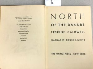 Title page of Margaret Bourke-White's North of the Danube (with Erskine Caldwell) (1939)