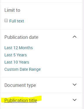 list of facets: Limit to full text, Publication date, Document type, Publication Title