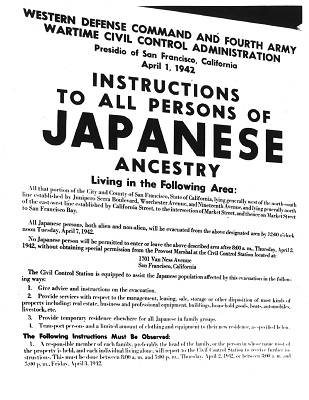 "sign reading ""instructions to all persons of Japanese ancestry"""