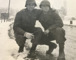 Two soldiers posing for photo, Germany, 1945