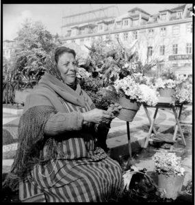 Flower Market. Lisbon, Portugal circa 1941. BANC PIC 1982.111 series 3, NNEG box 49, item 37