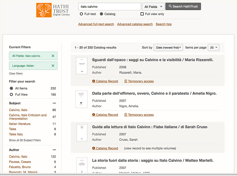 screenshot HathiTrust search