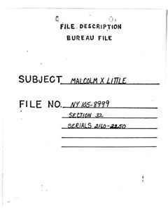 cover page of Malcolm X file